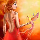 Fantasy beautiful woman fairy and bird by Alena Lazareva