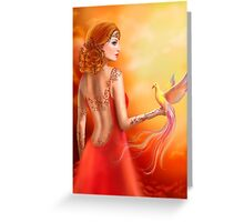 Fantasy beautiful woman fairy and bird Greeting Card