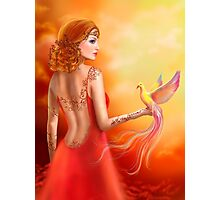Fantasy beautiful woman fairy and bird Photographic Print