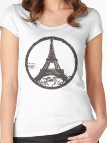Eiffel Tower Peace Sign Women's Fitted Scoop T-Shirt