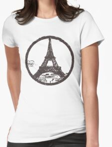 Eiffel Tower Peace Sign Womens Fitted T-Shirt