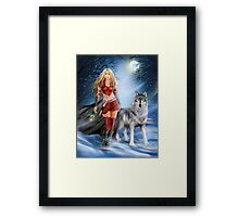 Fantasy Winter Warrior Princess and wolf Framed Print