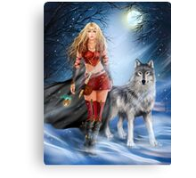 Fantasy Winter Warrior Princess and wolf Canvas Print