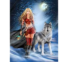 Fantasy Winter Warrior Princess and wolf Photographic Print