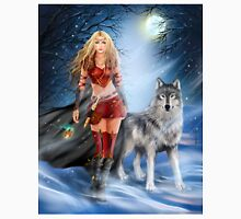 Fantasy Winter Warrior Princess and wolf Unisex T-Shirt
