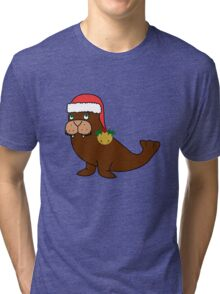 Christmas Walrus with Red Santa Hat, Holly & Gold Jingle Bell Tri-blend T-Shirt