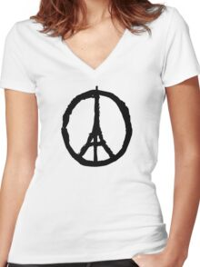 Peace for Paris Women's Fitted V-Neck T-Shirt
