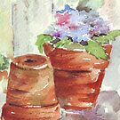 Violets in a pot by Maree Clarkson