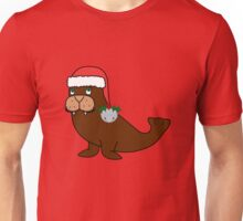 Christmas Walrus with Red Santa Hat, Holly & Silver Jingle Bell Unisex T-Shirt