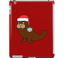 Christmas Walrus with Red Santa Hat, Holly & Silver Jingle Bell iPad Case/Skin