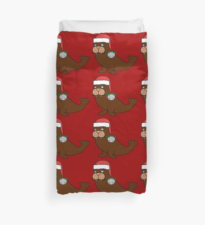 Christmas Walrus with Red Santa Hat, Holly & Silver Jingle Bell Duvet Cover
