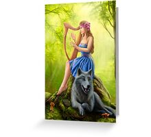 Fantasy girl fairy and friend wolf. Plays a harp. Morning wood. Greeting Card