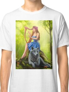 Fantasy girl fairy and friend wolf. Plays a harp. Morning wood. Classic T-Shirt