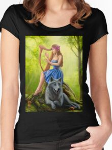 Fantasy girl fairy and friend wolf. Plays a harp. Morning wood. Women's Fitted Scoop T-Shirt