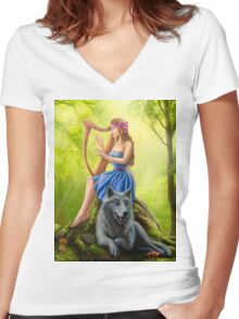 Fantasy girl fairy and friend wolf. Plays a harp. Morning wood. Women's Fitted V-Neck T-Shirt