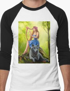 Fantasy girl fairy and friend wolf. Plays a harp. Morning wood. Men's Baseball ¾ T-Shirt