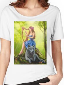 Fantasy girl fairy and friend wolf. Plays a harp. Morning wood. Women's Relaxed Fit T-Shirt