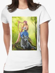 Fantasy girl fairy and friend wolf. Plays a harp. Morning wood. T-Shirt