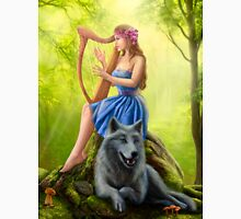 Fantasy girl fairy and friend wolf. Plays a harp. Morning wood. Unisex T-Shirt