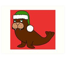 Christmas Walrus with Green Santa Hat Art Print