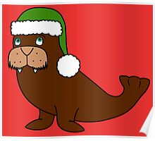 Christmas Walrus with Green Santa Hat Poster