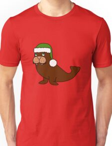 Christmas Walrus with Green Santa Hat Unisex T-Shirt