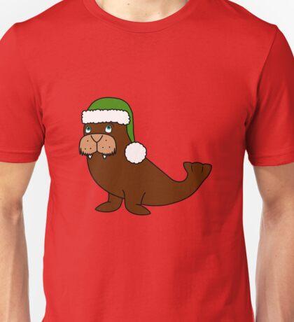 Christmas Walrus with Green Santa Hat Unisex T-Shirt