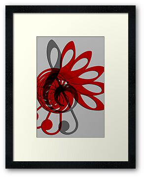 Music Treble Clef Abstract in Gray Red and Black by Natalie Kinnear