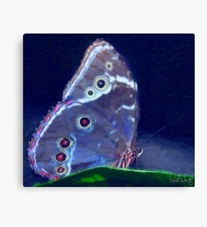 Blue Morpho-Oil Painting Effect Canvas Print