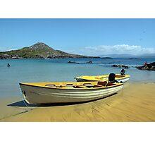 yellow boats on golden irish beach Photographic Print