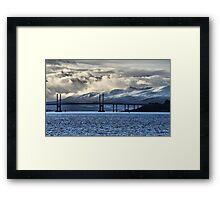 Winter Storm Beyond the Bridge Framed Print