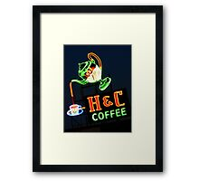 Neon H & C Coffee Framed Print