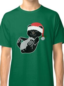 Christmas Black Bear with Red Santa Hat, Holly & Silver Bell Classic T-Shirt