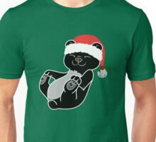Christmas Black Bear with Red Santa Hat, Holly & Silver Bell Unisex T-Shirt