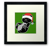 Christmas Black Bear with Red Santa Hat, Holly & Silver Bell Framed Print