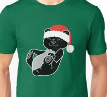 Christmas Black Bear with Red Santa Hat Unisex T-Shirt