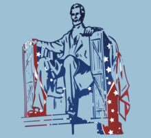 President Lincoln Statue In USA Flag Colors Kids Clothes