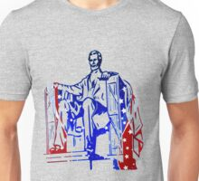 President Lincoln Statue In USA Flag Colors Unisex T-Shirt