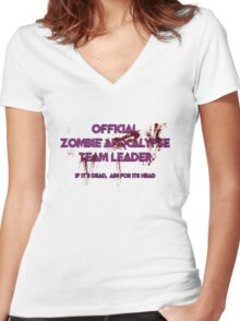 Zombie Apocalypse Team Leader Women's Fitted V-Neck T-Shirt
