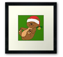 Christmas Brown Bear with Red Santa Hat, Holly & Gold Bell Framed Print