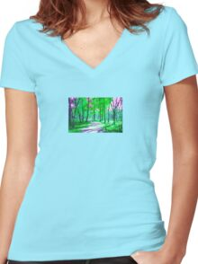 My Fall Walk Women's Fitted V-Neck T-Shirt