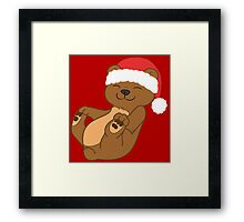 Christmas Brown Bear with Red Santa Hat Framed Print