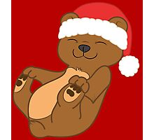 Christmas Brown Bear with Red Santa Hat Photographic Print
