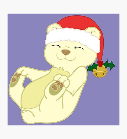 Christmas Kermode Bear with Red Santa Hat, Holly & Gold Bell Photographic Print