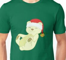 Christmas Kermode Bear with Red Santa Hat, Holly & Gold Bell Unisex T-Shirt