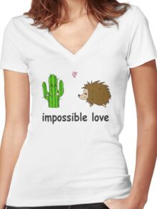 Impossible love Women's Fitted V-Neck T-Shirt