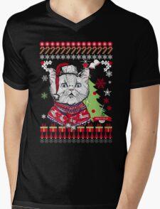 Cat  Ugly Christmas Sweater Mens V-Neck T-Shirt