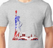 Statue Of Liberty Drawing In USA Flag Colors Unisex T-Shirt