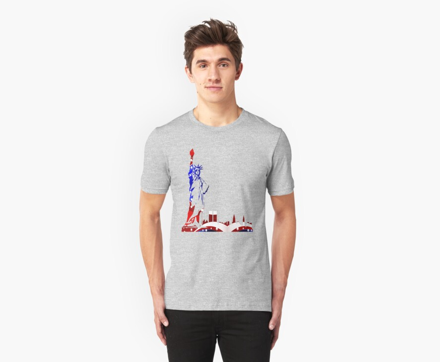 Statue Of Liberty Drawing In USA Flag Colors by artonwear