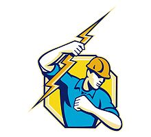 Electrician Construction Worker Retro  by patrimonio